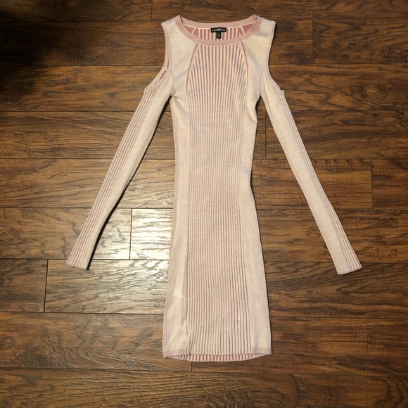 Express Dresses & Skirts - Express light blush sweater dress cold shoulder